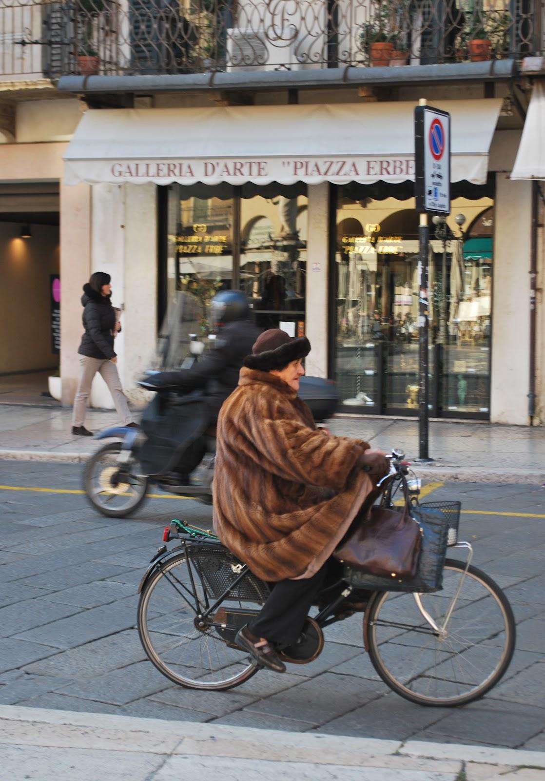 Old biddie on bike