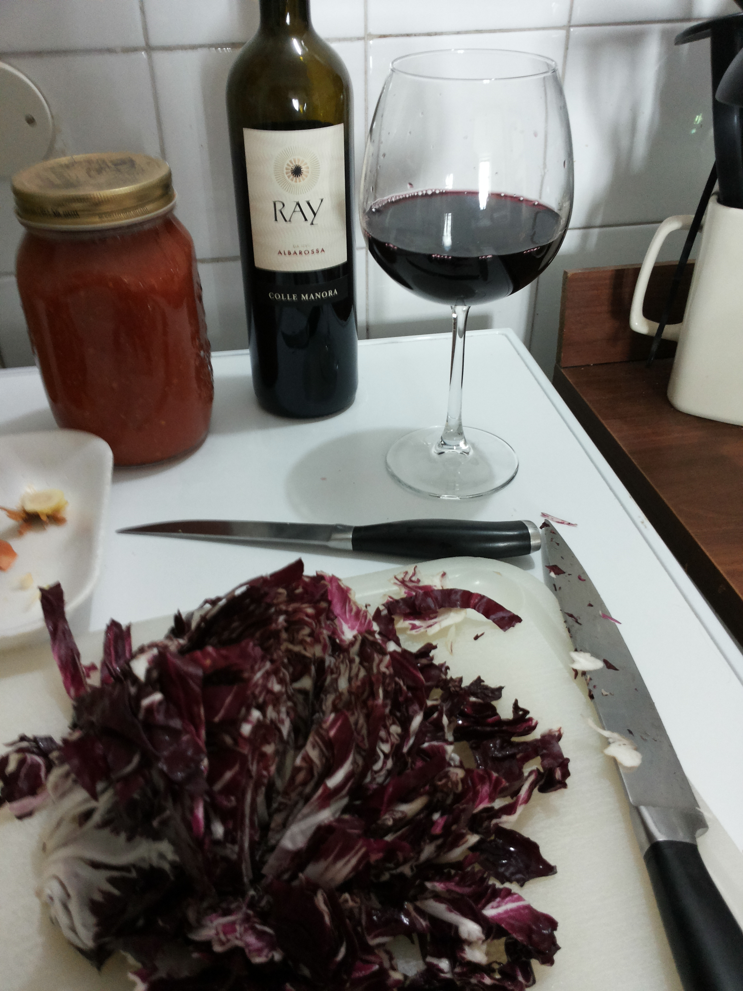 Red stuff chopped and wine within reach
