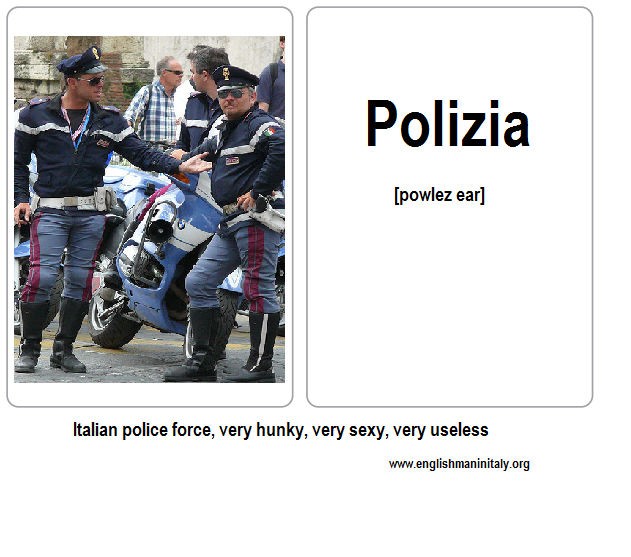 Police Italian Flash Card