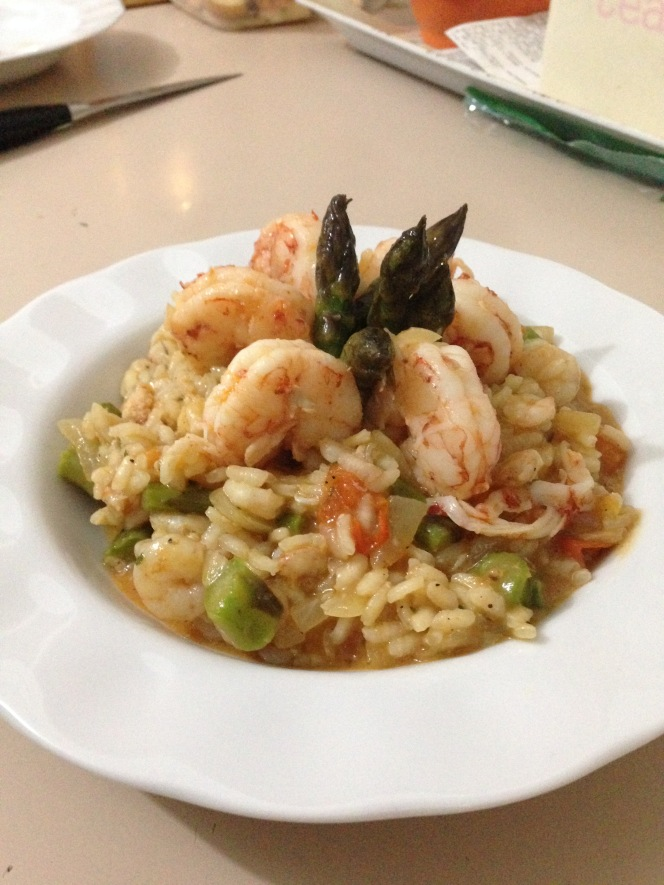 Mrs Sensible's asparagus and king prawn risotto.